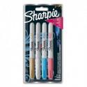 SHARPIE 4 marqueurs Sharpie fine METALLIC Or, Argent,Bleu,Rouge