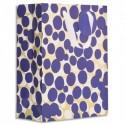DRAEGER Sac cadeau papier grand format L26XH33cm Bleu/Or Pois. Finition or à chaud. Poignées en ruban