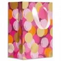DRAEGER Sac cadeau papier petit format L16xH23cm Rose pois colorés. Finition or à chaud. Poignées ruban