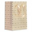 DRAEGER Sac cadeau papier petit format L16xH23cm Triangles Or/Blanc. Finition or à chaud. Poignées ruban