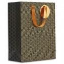 DRAEGER Sac cadeau papier grand format L26XH33cm Ecailles Noir&Or.Finition or à chaud.Poignées en ruban