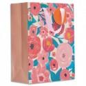 DRAEGER Sac cadeau papier grand format L26XH33cm Fleurs Roses. Finition or à chaud. Poignées en ruban