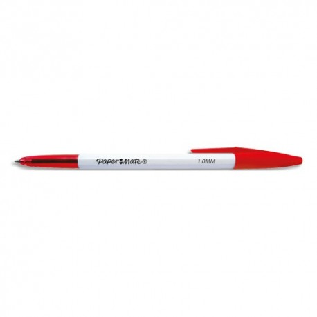 PAPERMATE Stylo bille 045 à capuchon pointe moyenne 0.7 mm. Encre Rouge