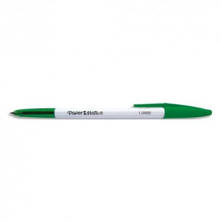 PAPERMATE Stylo bille 045 à capuchon pointe moyenne 0.7 mm. Encre Verte