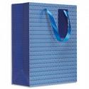 DRAEGER Sac cadeau papier grand format L26XH33cm Bleu Marine. Finition or à chaud. Poignées en ruban