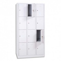 MT INTERNATIONAL Vestiaire 4 Cases 3 Colonnes en acier Blanc, L90 x H180 x P50 cm, case L22 x H40 x P47,5