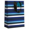 DRAEGER Sac cadeau papier grand format L26XH33cm Rayures Bleues. Finition or à chaud. Poignées en ruban
