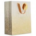 DRAEGER Sac cadeau papier grand format L26XH33cm Bulles dorés. Finition or à chaud. Poignées en ruban