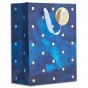 DRAEGER Sac cadeau papier grand format L26XH33cm Bleu Pois. Finition or à chaud. Poignées en ruban