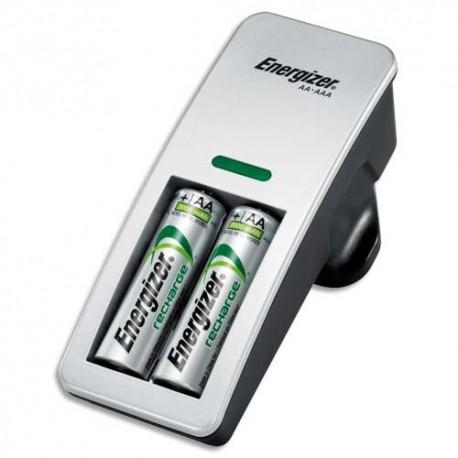 ENERGIZER Chargeur Mini pour 2 piles AA ou AAA - Livré avec 2 accus AA 2000mAh