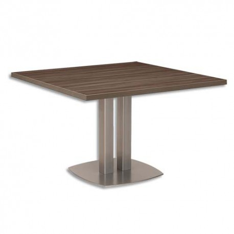 GAUTIER Table carrée Vermont - Dimensions L115 x H75 x P115 cm coloris noyer fumé