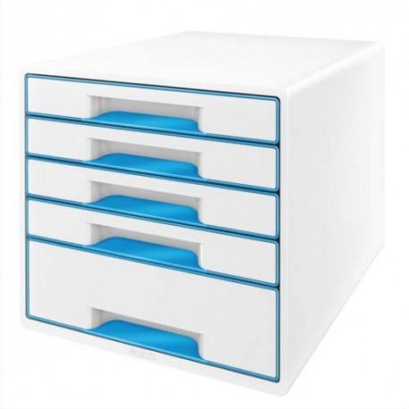 Module de classement LEITZ - Classement 5 tiroirs blanc laqué et tiroirs WOW bleu - L29 x H36 x P 37 cm