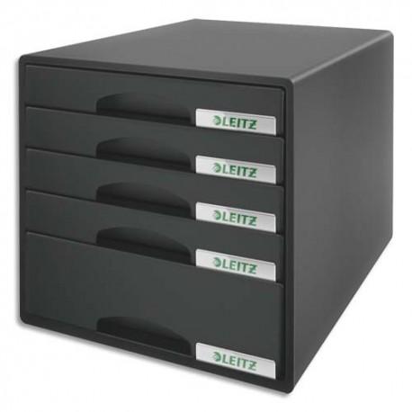 Module de classement LEITZ plus - Classement 5 tiroirs Noir - L28,7 x H27 x P36,3 cm