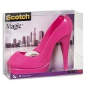 SCOTCH Dévidoir forme escarpin rose avec rouleau adhésif Magic 19mmx8,9m. Livré en boite transparente