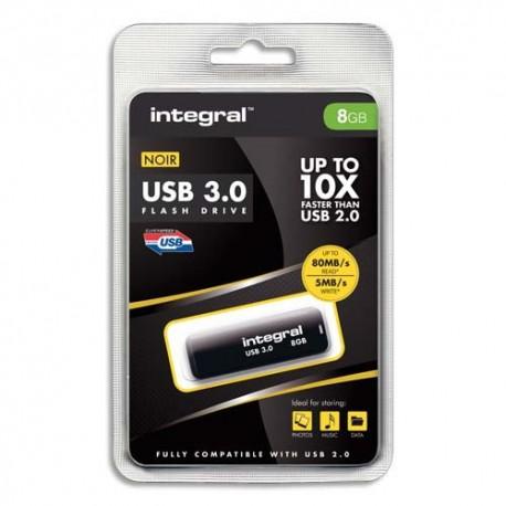 Clé USB 8Go 3.0 coloris noir + redevance Intégral