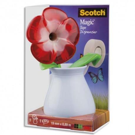 SCOTCH Dévidoir forme Fleur avec rouleau adhésif Magic 19mmx7,5m. Livré en boite transparente