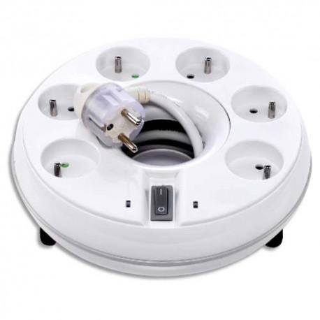 WATT&CO Rallonge multiprise parafoudre 6 prises + interrupteur ROUNDWATT