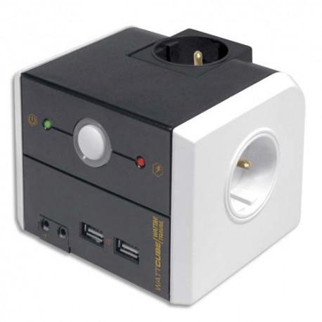WATT&CO Multiprise parafoudre 3 prises + 2 ports USB WATTCUBE
