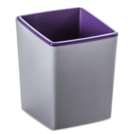 DURABLE Pot à crayons Varicolor en ABS - Dimensions : L7,9 x H10 x P7,9 cm coloris violet gris