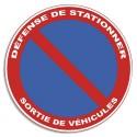 """VISO Plaque de signalisation auto-adhésive en PVC """"Défense de stationner"""" - Diamètre 28 cm rouge bleu"""