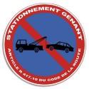 """VISO Plaque de signalisation auto-adhésive en PVC """"Stationnement gênant"""" - Diamètre 28 cm rouge blanc"""