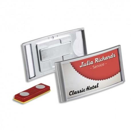 DURABLE Boîte de 10 Porte-badges Classic Premium à aimant 3 x 6,5 cm - Dim. L7,5 x H3,5 x P0,4 cm argent