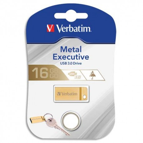 Clé USB 16Go 3.0 Store'N'Go Mini Metal Executive Gold + redevance Verbatim