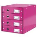 LEITZ Module de classement 4 tiroirs WOW en carton recouvert de polypropylène. Coloris rose.