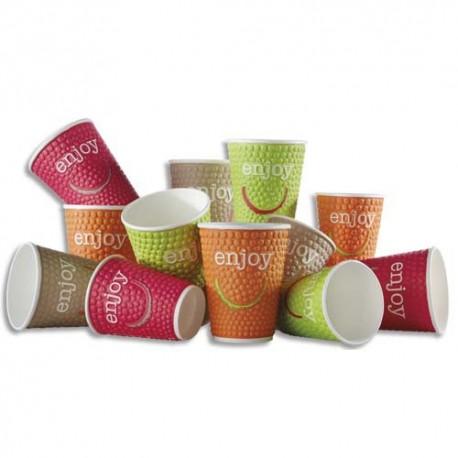 HUHTAMAKI Sachet de 35 gobelets DW9 Enjoy 20cl 4 coloris boissons chaudes en carton - H9,4 cm, Diam. 8 cm