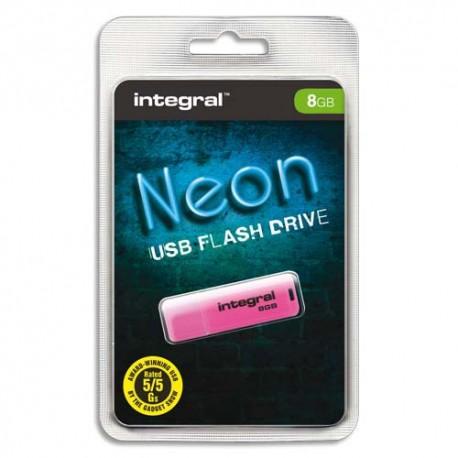 Clé USB 8Go 2.0 NEON coloris Rose + redevance Intégral