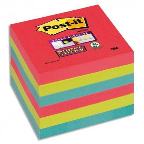 Bloc notes repositionnables Post-it Super Sticky vitamine 76x76mm, coloris Coquelicot/Vert Néon/Saphir lot de 6
