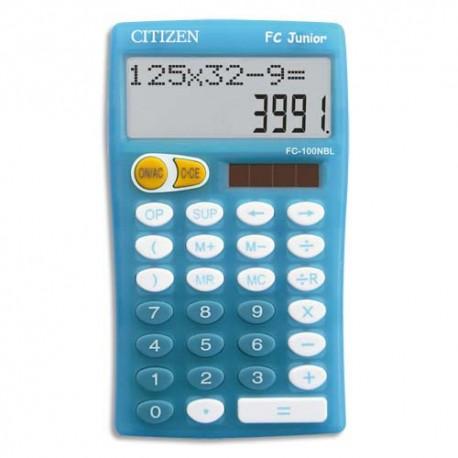 Calculatrice scolaire primaire Citizen 10 grands chiffres bleue