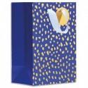 DRAEGER Sac cadeau papier petit format L16xH23cm Bleu tachetés Or. Finition or à chaud. Poignées en ruban