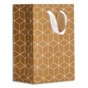 DRAEGER Sac cadeau papier petit format L16xH23cm Design géométrique. Papier kraft. Poignées en ruban