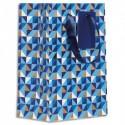 DRAEGER Sac cadeau papier petit format L16xH23cm Bleu triangle couleur.Finition or à chaud.Poignées ruban