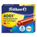 PELIKAN Etui de 6 cartouches standard pour tous stylos plume à cartouches. Encre effaçable Rouge