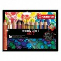 STABILO Etui carton 10 Crayons couleur Woody 3en1 ARTY, mine extra large 10 mm, assortis +1 taille-crayon