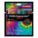 STABILO Etui carton 24 Crayons de couleur aquarellables Aquacolor ARTY, mine solide 2,8 mm, assortis