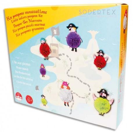 SODERTEX Kit de 12 Pompons Moussaillons, à fabriquer, personnages en carton et fils de laine