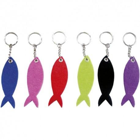 SODERTEX Lot de 10 Porte-clefs forme de poisson en feutrine 6 Assortis, Format 9 x 3 cm, épaisseur 3 mm