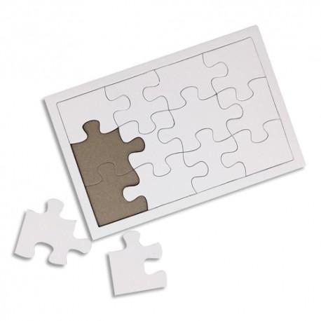 SODERTEX Lot de 10 Puzzles en carton Blanc, 900 g/m², avec cadre, à customiser - Format 12/14 x 19/21 cm
