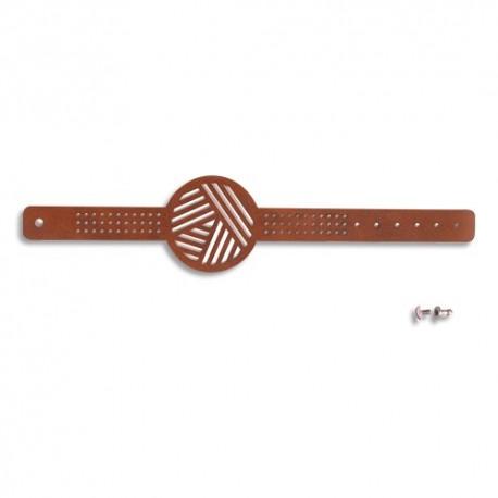 GRAINE CREATIVE Lot de 12 Bracelets à broder polyuréthane Marron, échevette de coton, aiguille et attache