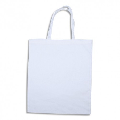SODERTEX Lot de 12 grand Sac shopping Blanc en coton, 100 g/m² - Format : 37 x 42 cm