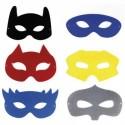 SODERTEX Lot de 12 Masques en feutrine Thème Héros 6 modèles Assortis, 10/18 cm, épaisseur 1 mm, fil Noir