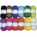 SODERTEX Pack de 12 Pelotes de laine 100% acrylique pour aiguilles de 3 à 3,5, environ L55 m Assortis