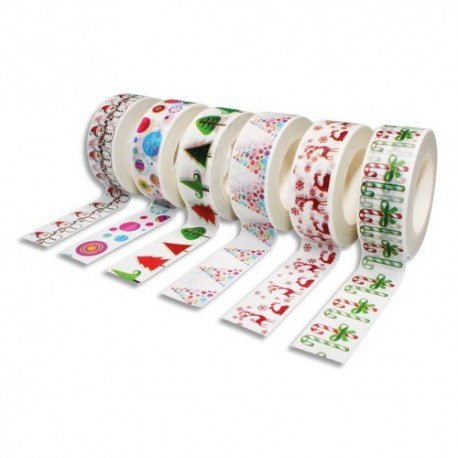 SODERTEX Pack de 6 Rubans adhésifs Thème Noël - Dimensions : H15 mm x L10 m