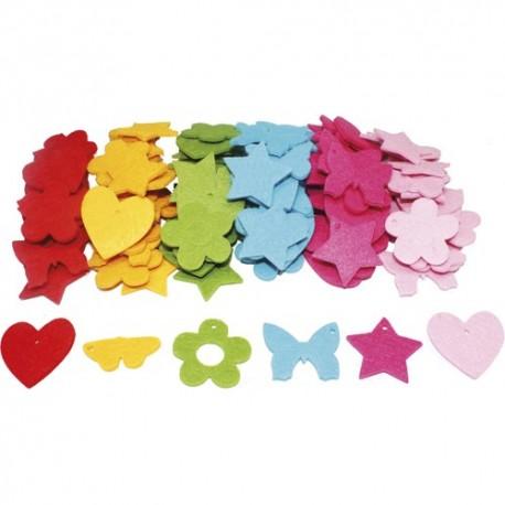 SODERTEX Pack de 4 Sachets de 30 Formes feutrine épaisseur 3 mm D4 cm : fleurs, papillons, cœurs, étoiles
