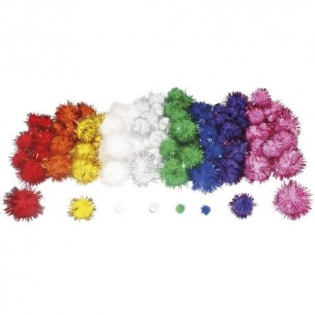 SODERTEX Pack de 200 Pompons métallisés en polypropylène, tailles et coloris assortis