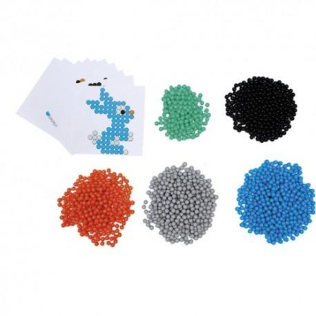 SODERTEX Pack de 1500 Aqua Perles Aqua'Nimals D3 mm, 5 coloris assortis + 10 feuilles modèles 7,8x7,8 cm