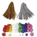 SODERTEX Pack Maxi glitter Pompons et chenilles, classe entière, 300 pièces tailles et Coloris assortis